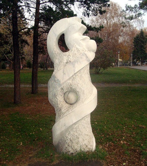 DNA Helix. Established in 2008 in Novosibirsk, performed at the IV Symposium of Stone Sculpture, held in Novosibirsk in 2008. One of the most unusual sculpture in the history of symposiums