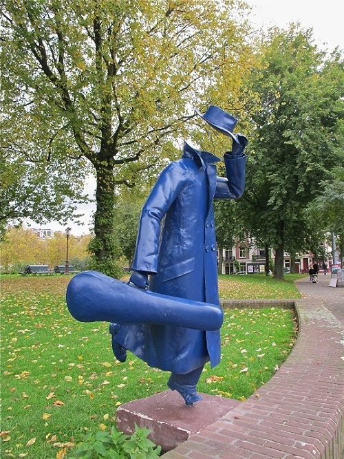 """Invisible man running with a violin"" sculpture, appeared in Amsterdam in 1982"