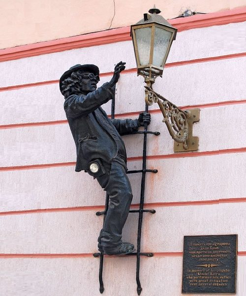 Monument To The Lamplighter Uncle Kolya, Korzo Street, Uzhgorod