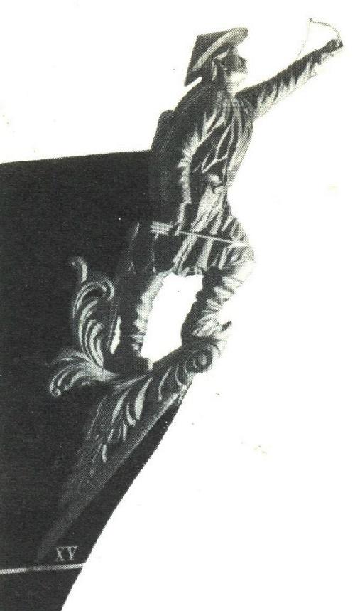 Russian ship sculpture. Bow decoration of sailing corvette Gilyak