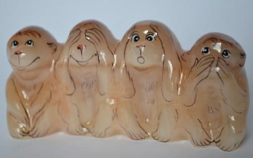 Selenite figurines of Four wise monkeys
