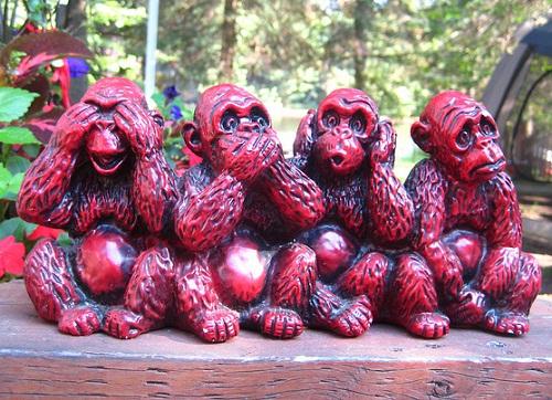 Four wise monkeys wooden sculpture