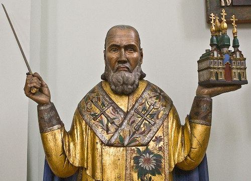 Perm Gods Wooden Sculpture. St. Nicholas of Mozhaisk