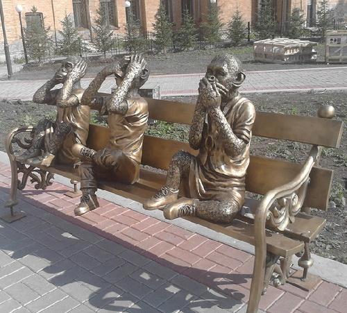 Three wise monkeys sculptural composition in Irkutsk, Russia