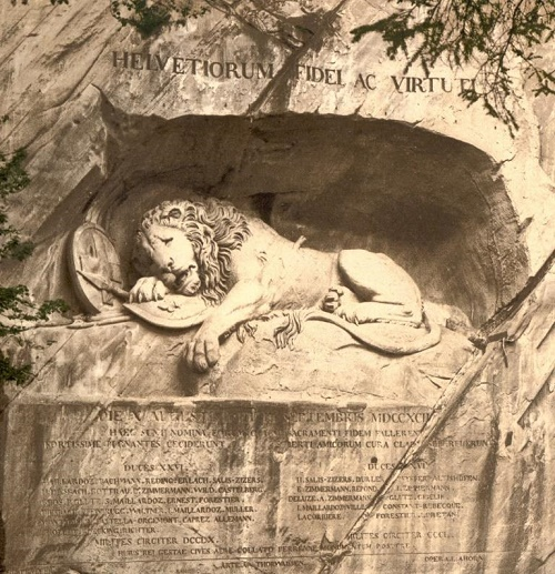 Mortally Wounded Lion Monument in Lucerne, Switzerland. Sculptors Bertel Thorvaldsen and Lukas Ahorn. 1820- 1821