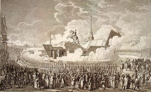 Opening of the monument to Peter the Great. Engraving by AK Melnikov, drawing by A.P. Davydov, 1782