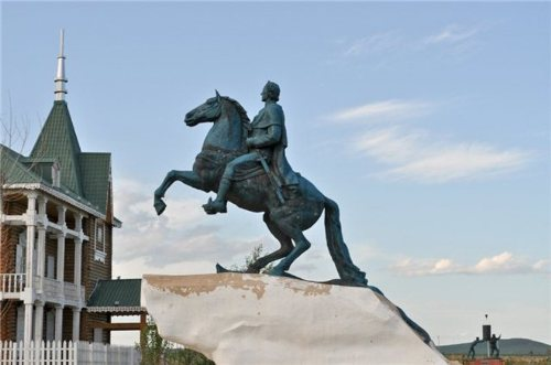 The copy of Peter The Great monument (The Copper Horseman). Eastern Europe sculptures Park