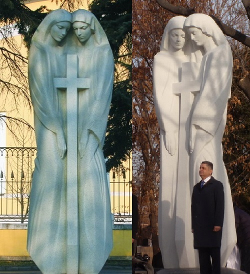 Russian-Armenian Friendship Monument. 'Uniform cross'  Monument in Moscow (left, 1997) and in Yerevan (right, 2013). Granite. Authors FM Soghoyan, VF Soghoyan