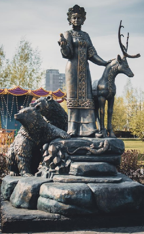 Mythical Malachite Maid bronze sculpture