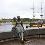 Tired Tourist Girl Monument in Veliky Novgorod