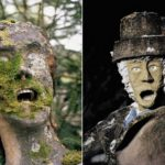 Creepy sculptures with human teeth