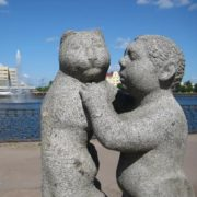 A boy with a cat. Vyborg (Leningrad region)