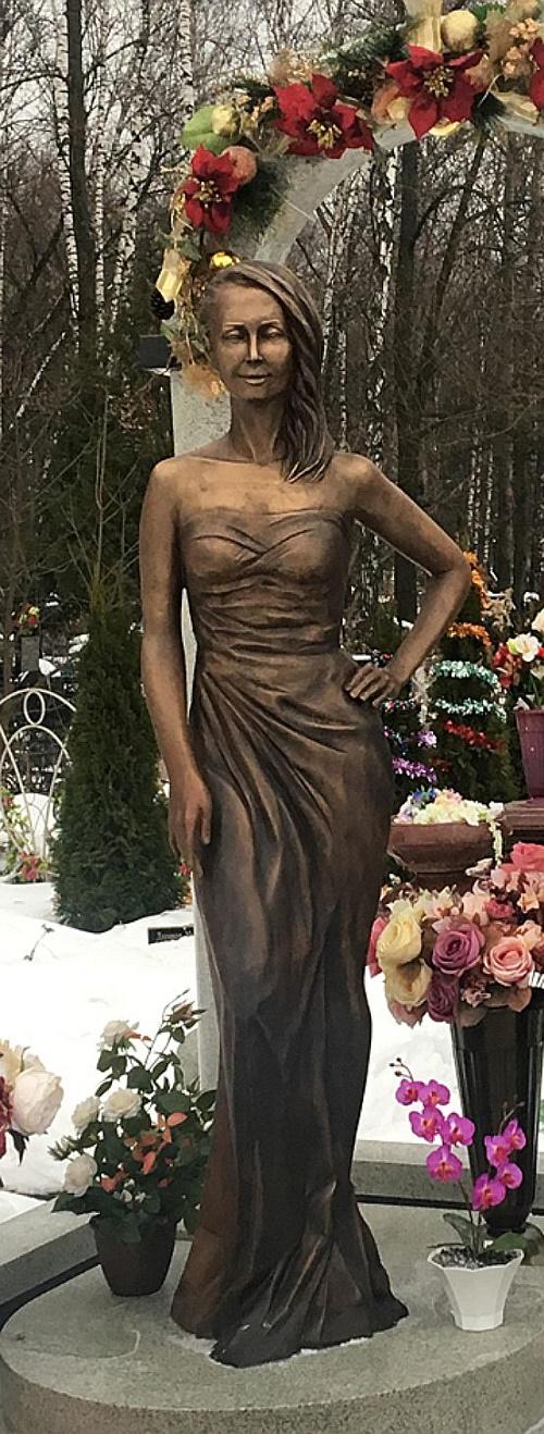 Russian singer Zhanna Friske graveyard monument in St. Nicholas Archangel Cemetery
