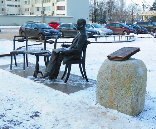The view of monument to Gustav Faberge in Pärnu, Estonia