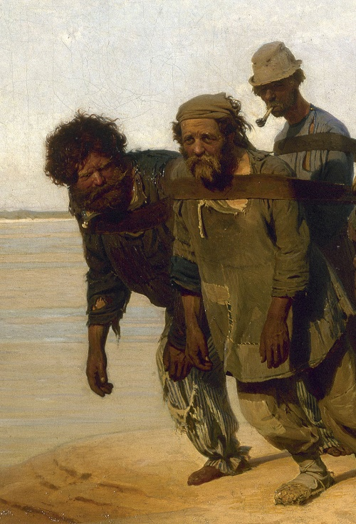 1870-1873 painting Volga Boatmen. detail