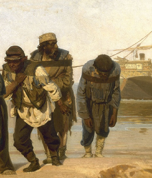 Detail of painting by Ilia Repin (1844-1930) Volga Boatmen. 1870-1873