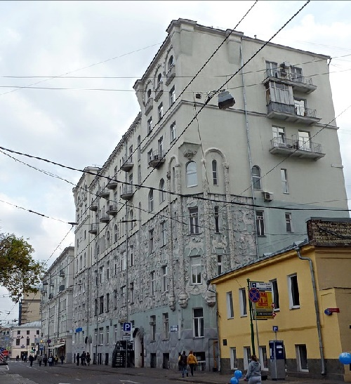 Early 20th century apartment house decorated with bas reliefs