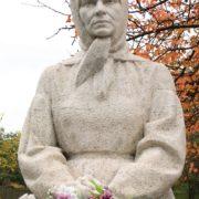 Monument to self-taught naive artist Katerina Bilokur. Sculptor - nephew of the artist, Ivan Bilokur. The village of Bogdanovka of Yagotin district, Kiev region