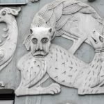 Art Nouveau house bas-reliefs of fantastic animals