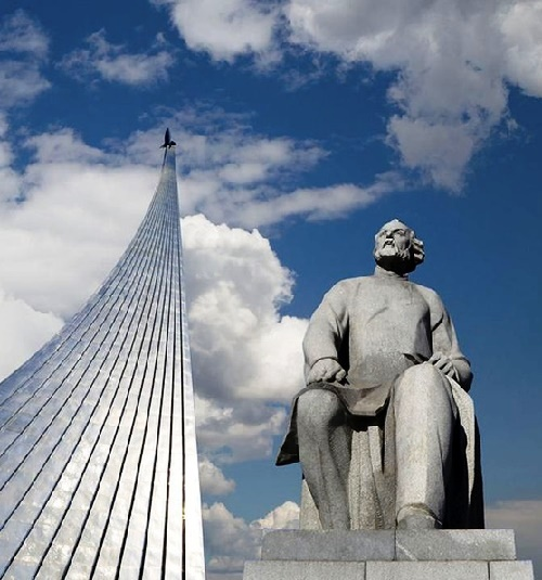 VDNKh, Cosmonauts Alley, a monument to the founder of astronautics Tsiolkovsky