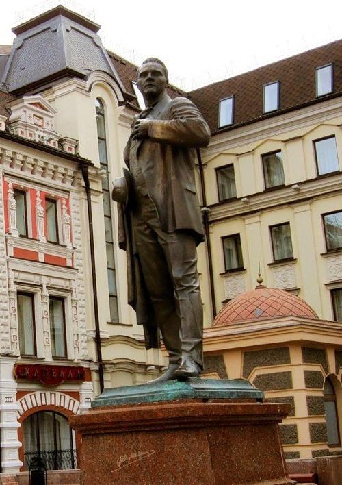 Bauman street, Kazan. Russia. Monument to Chaliapin