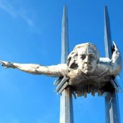Closeup. Monument to hero pilot