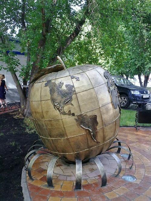 Globe apple monument in Novosibirsk