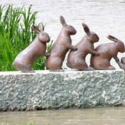 Sweden, monument to hares crossing the channel (finish)