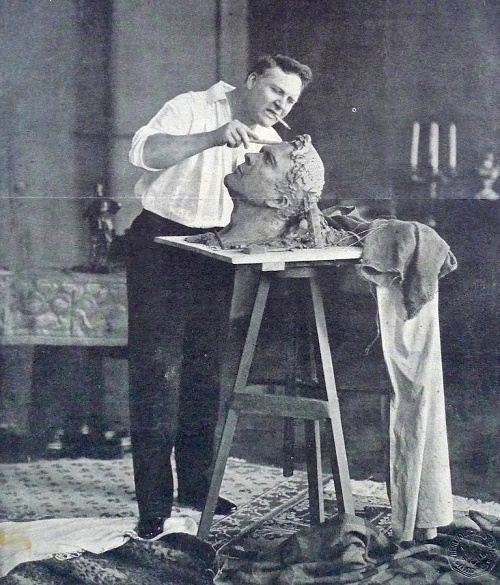 Working on his own portrait, Chalapin as a sculptor
