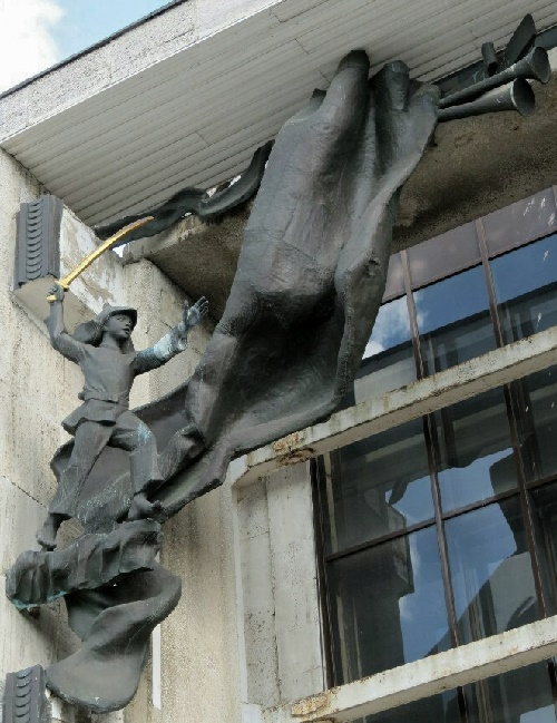 Young hero, sculpture decorating the theater