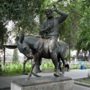 Folklore character Khoja Nasriddin on a donkey, monument in Bukhara