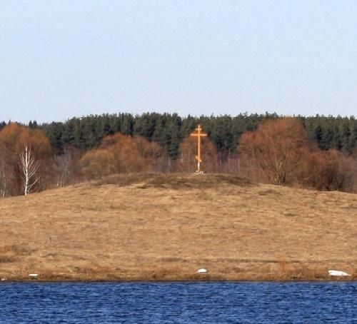Behind Russian monumental wayside crosses
