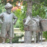 With his donkey, Nasreddin Hodja