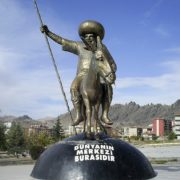 Work by sculptor Metin Yurdanur. 1985. Nasreddin in the center of the Earth. Sivrihisar, Turkey
