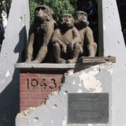 Legendary Rhesus macaques monument in Kharkov
