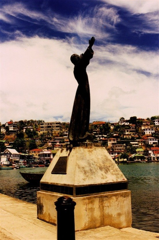 One of two copies of Christ statues. The central harbor of the island of Grenada