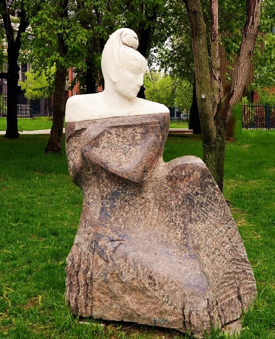 Work by sculptor Igor Chernoglazov - Ultra-romantic Black Shawl monument, 1999, marble, granite. Museon, Moscow