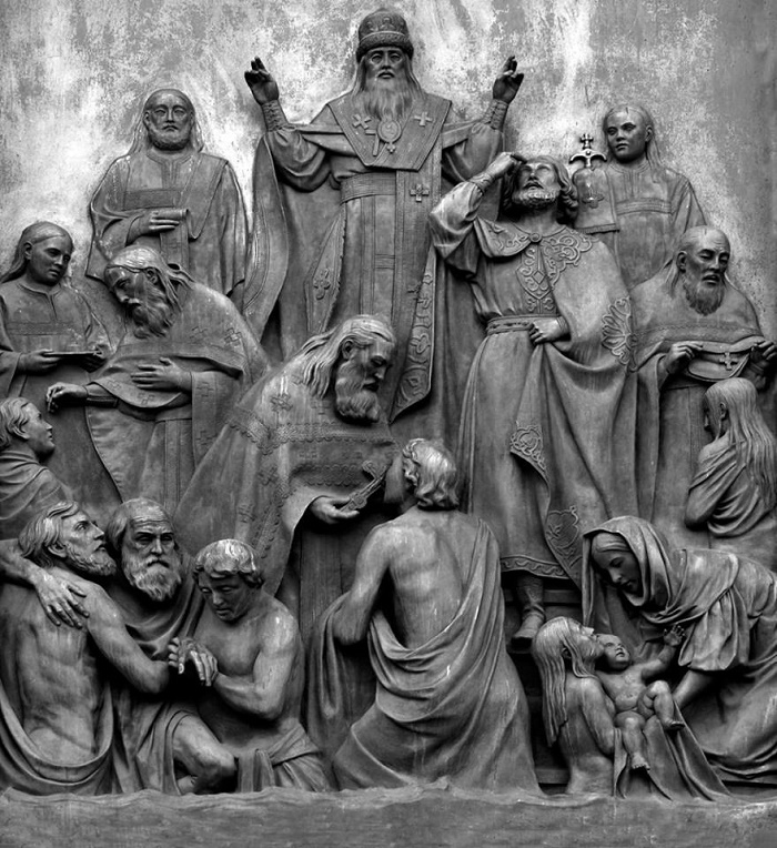 High relief 'Baptism of Rus' of the monument to Vladimir the Great. 1843