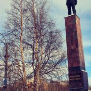 Monchegorsk, monument to geologist pioneer