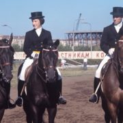 Strongest athletes of the USSR in dressage, Olympic champions (from left to right) - Ivan Aleksandrovich Kalita, Elena Petushkova and Ivan Mikhailovich Kizimov