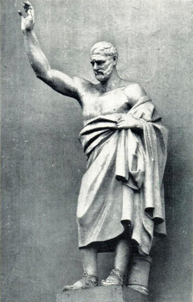 The Demosthenes statue in the niche of the main facade of the Public Library. 1831