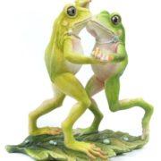 Dancing frogs, porcelain sculpture