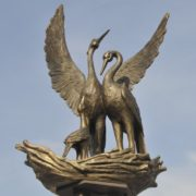 Opened October 17, 2012 monument in Novokuznetsk. Symbolic Stork monuments in Russia