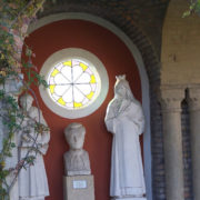 Stained glass windows and sculptures