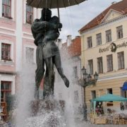 Tartu, Estonia. Monument to kissing lovers