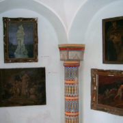 The visitors come to the castle, which is also a museum