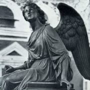 Angel sculpture by an Unknown master. Headstone of A. A. Sazikova. 1880s. Bronze, granite. Necropolis of the Donskoi Monastery