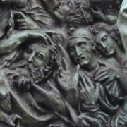 Closeup, fragment of monument to Vyacheslav Tikhonov