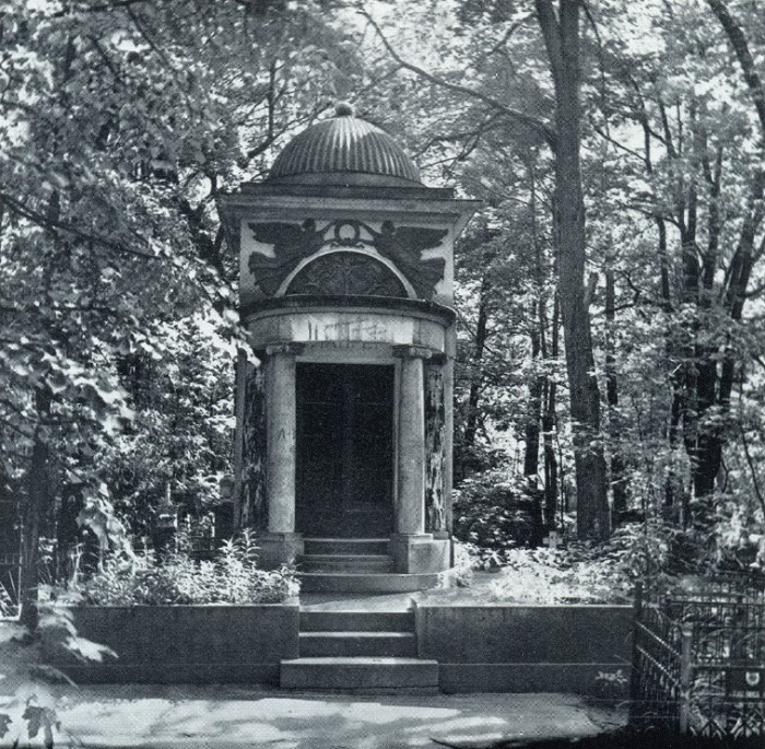 F.O. Shekhtel, K.S. Petrov-Vodkin. The shrine of the Erlanger family. 1914. Stone, bronze, mosaic, marble. Moscow, Vvedenskoe cemetery