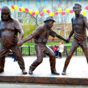 Monument to the wonderful comedians Georgy Vitsin, Yevgeny Morgunov and Yury Nikulin, Perm, Russia